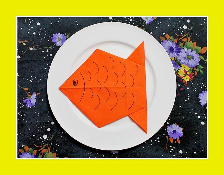 Serviettn falten Fisch