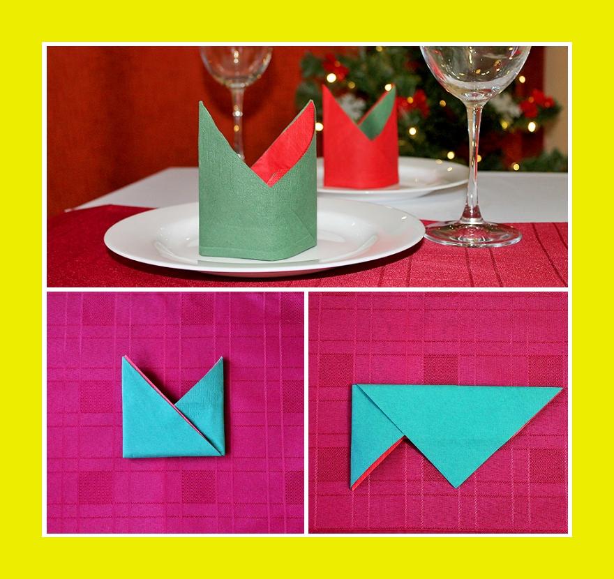 Bischofsmütze aus zwei Servietten verschiedener Farbe falten
