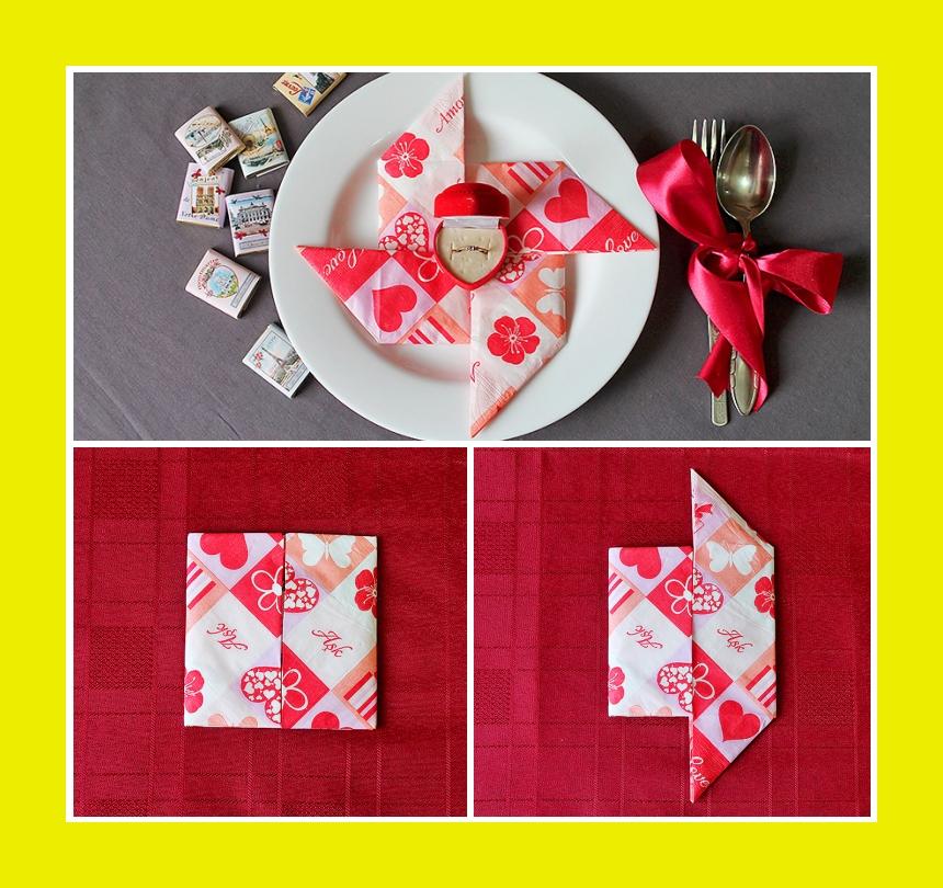 Papierservietten rot weiß Tischdeko zum Valentinstag