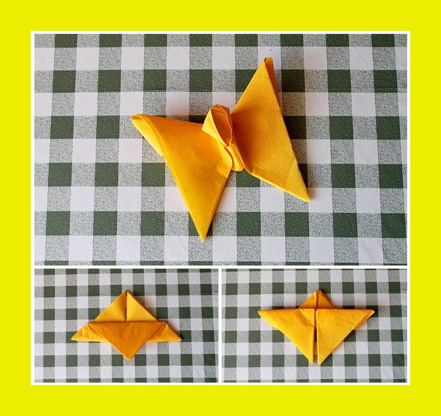Servietten falten Schmetterling Festtisch