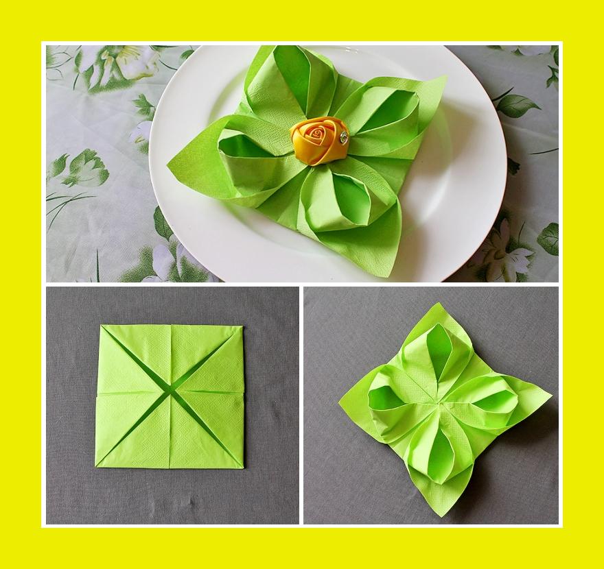 Servietten falten Seerose grün zum Geburtstag oder Hochzeit