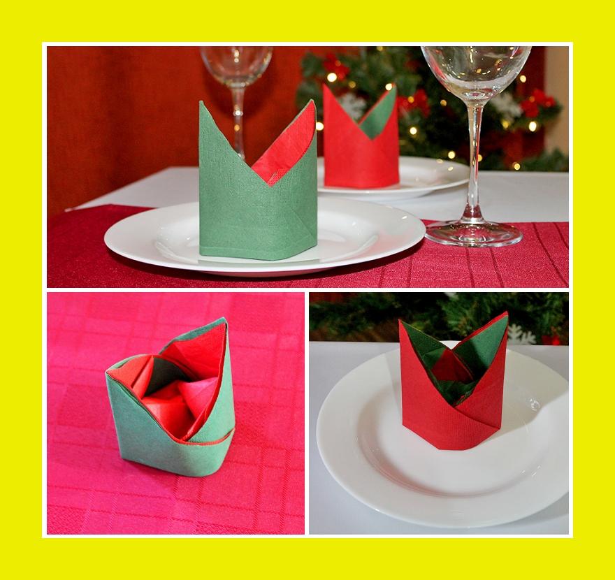 Servietten falten zweifarbig Bischofsmütze zu Silvester oder Weihnachten