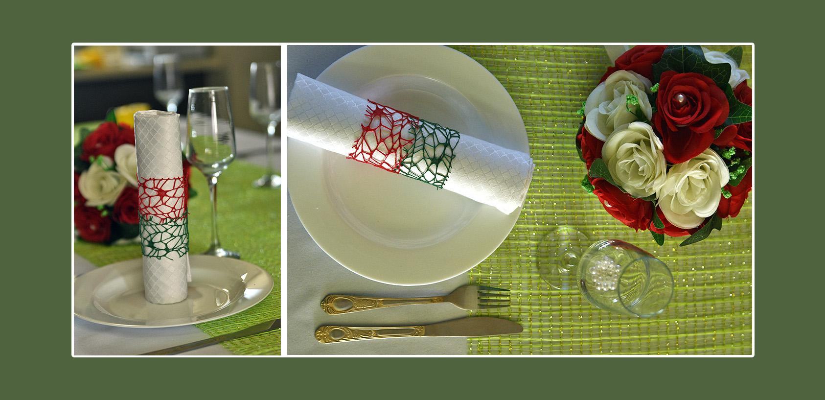 Servietten weiß mit rot-grüner Deko für Hochzeit und Geburtstag