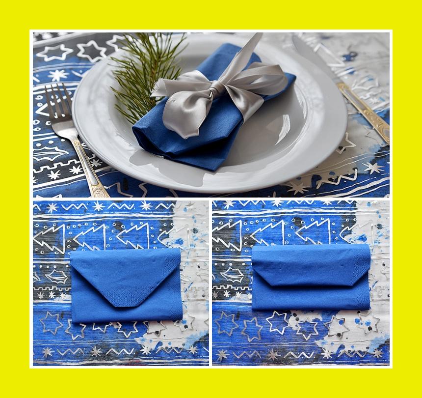 Silvester Servietten Tischdeko blau weiß