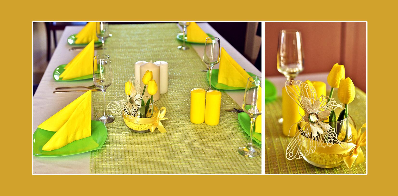 Tischdeko Kindergeburtstag Servietten Grün Gelb