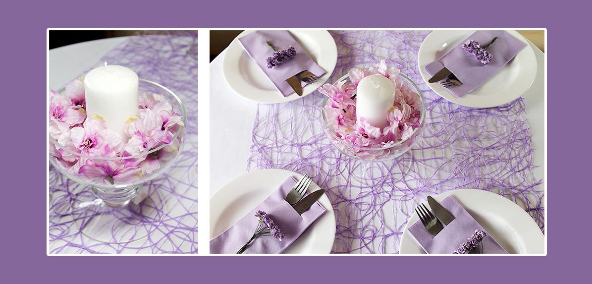 Tischdeko Lila mit Bestecktaschen und Frühlingsblumen Geburtstag Taufe Kommunion