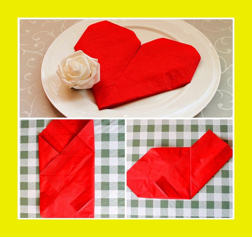 Tischdeko Servietten falten Herz