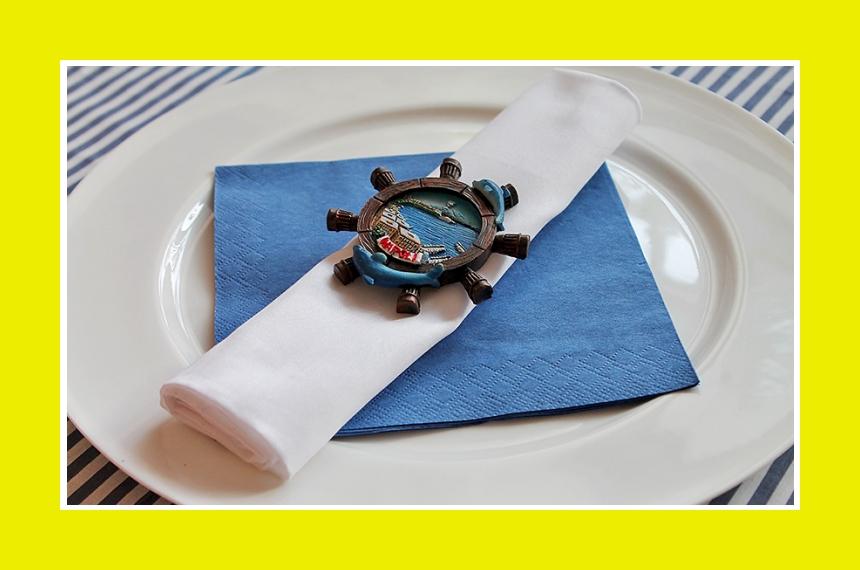 Tischdeko Serviettendeko blau weiß maritim