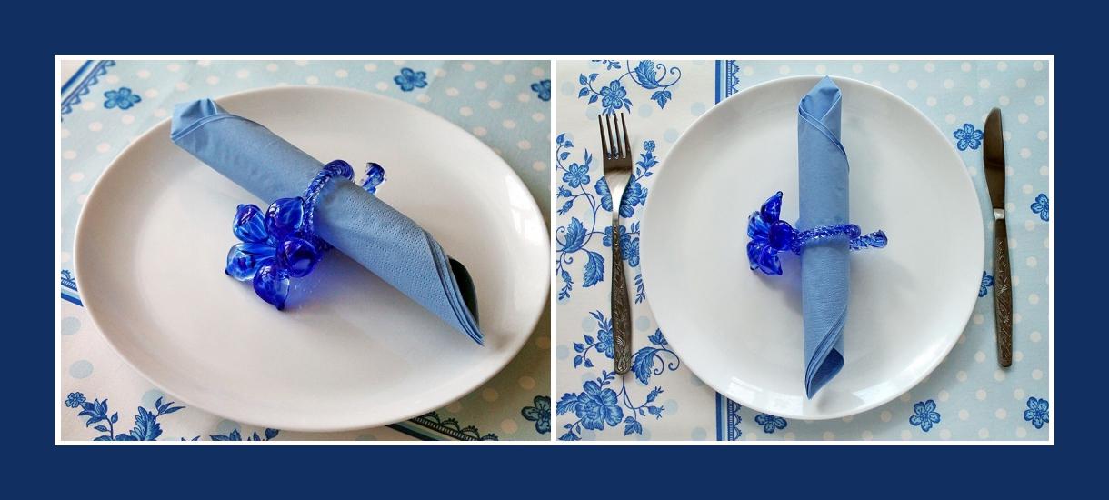 Servietten falten 40. Geburtstag Blau
