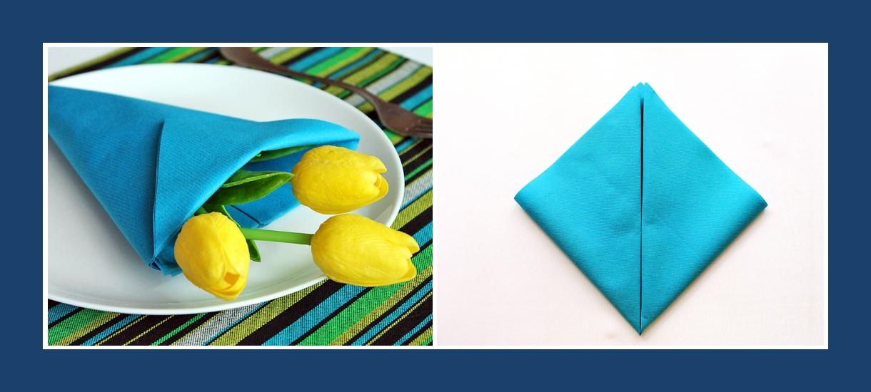 Servietten falten Anleitung Blumentasche Tulpen 2