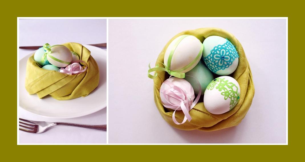 Servietten falten Nest Ostern 6