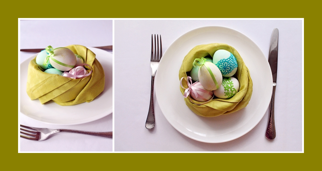 Servietten falten Nest Ostern 7