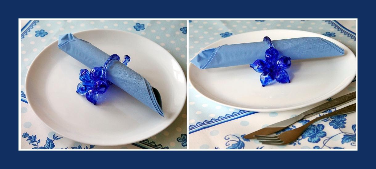 Servietten falten Rolle Blau Ring Geburtstag