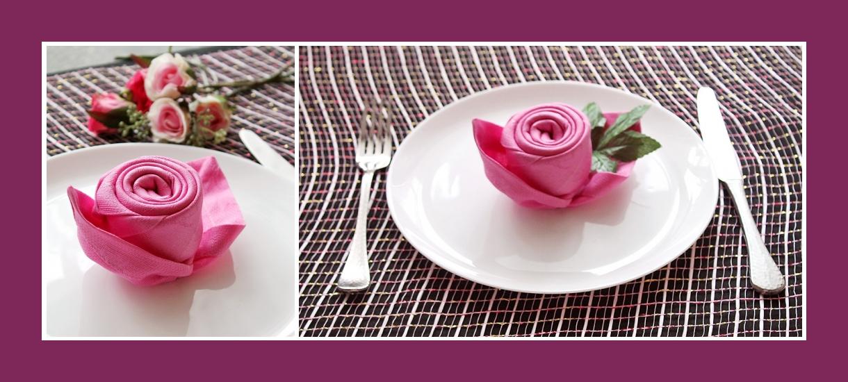 Stoffservietten falten Rose 8