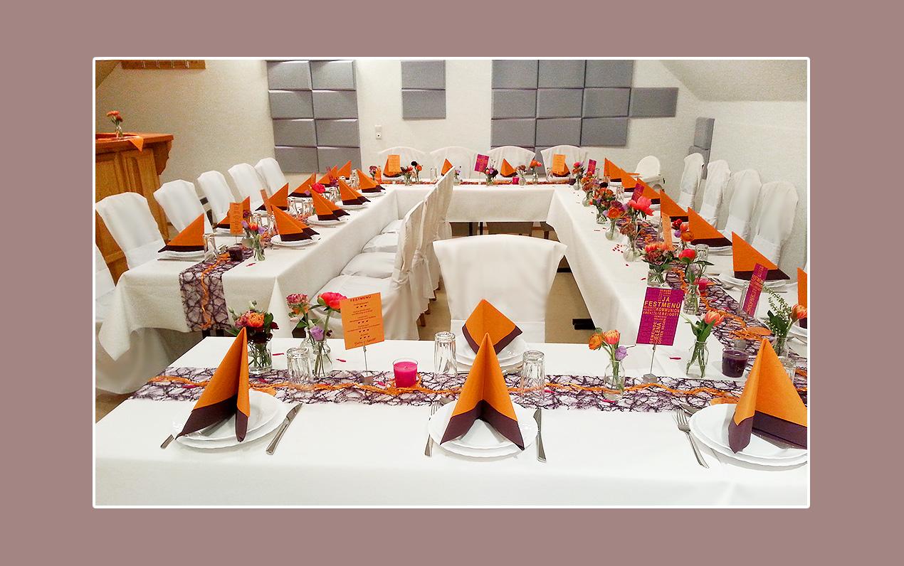 Hochzeit-Servietten-Lila-Orange